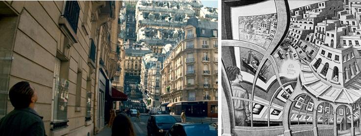 inception'dan bir sahne-Escher'in Relativity- Görecelik Resmi
