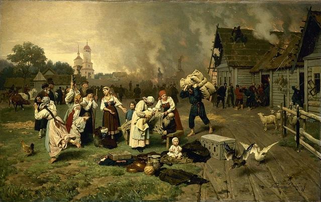 Nikolay Dmitriyev - Köyde Yangın -Çarlık Rusyası Resim Sergisi - Pera Müzesi