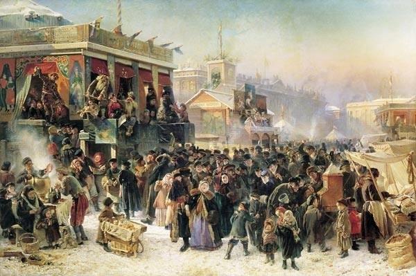 "Konstantin Makovsky -""Maslenitsa Bayramı'nda St. Petersburg'da Admiralteyski Bulvarı"""