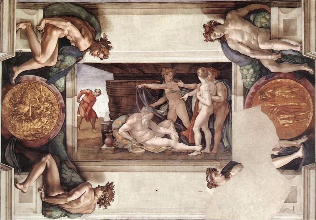 Nuh'un Sarhoşluğu(Drunkenness of Noah) - Michelangelo - Sistine Şapeli Tavanı
