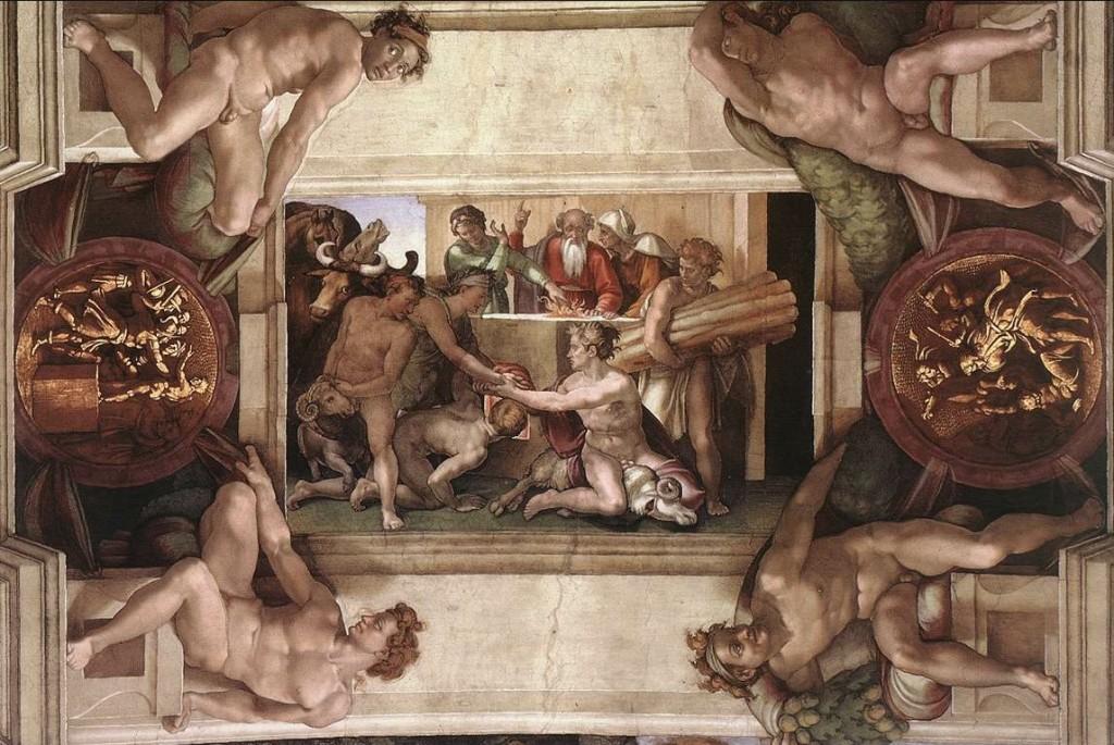 Nuh'un Tanrı'ya Kurban Sunuşu(The Sacrifice of Noah) - Michelangelo - Sistine Şapeli Tavanı