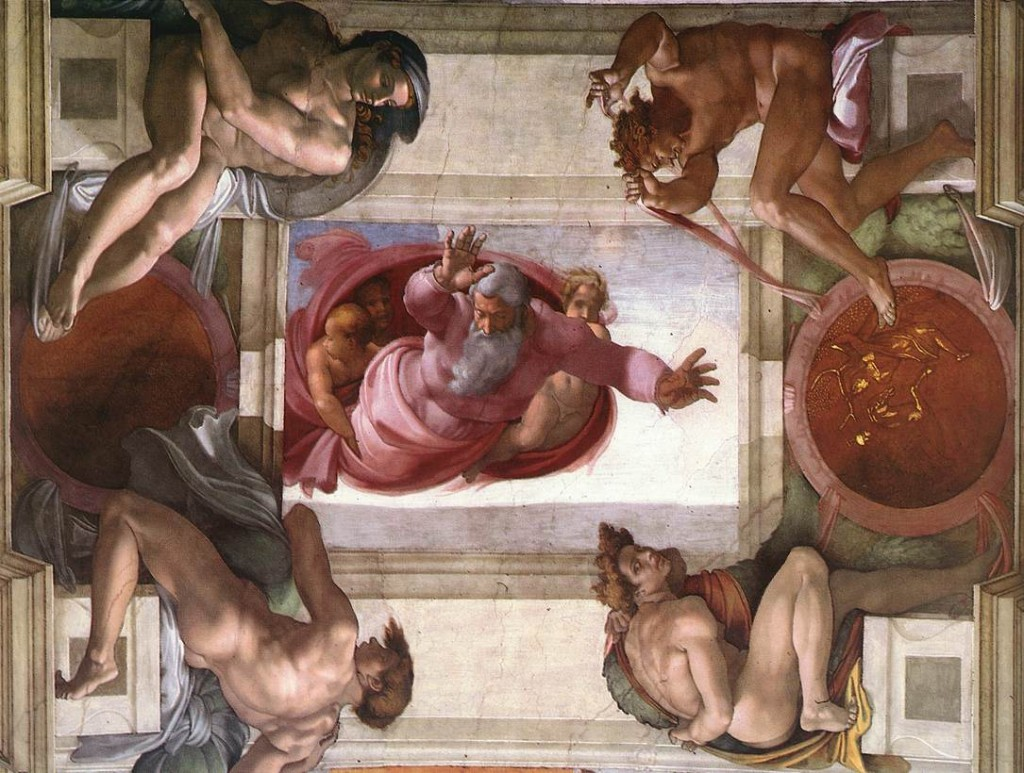Toprağın ve Suyun Ayrılması(The Separation of Land and Water)  - Michelangelo - Sistine Şapeli Tavanı