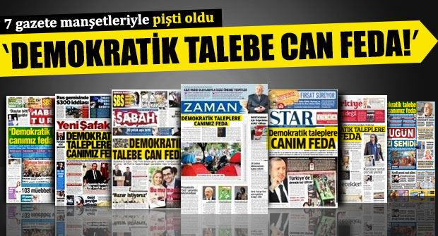 7 Haziran 2013 günü Başbakan'ın konuşmasını aynı ifadelerle manşetlere taşıyan 7 Gazete'nin  Gezi'den yükselen demokratik talepleri ne kadar yansıttığı ve canlarını feda ettiği ise iktidar,sansür ve otosansür bağlamında ayrı bir inceleme konusu