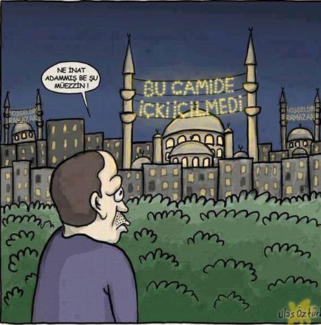"""Başbakan'ın defalarca seçim meydanlarında """"Camide içki içtiler"""" ifadesi üzerine ve görüntülerini yayınlayacağım sözünü vermesine rağmen, 23 Temmuz 2013 itibariyle halen yayımlanmaması ve Cami müezzininin """"İçildiğini görmedim"""" beyanı üzerine, Erdoğan'a karikatürle gösterilen tepki mesajı"""