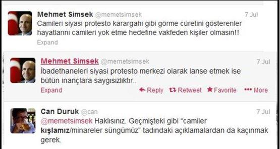 """AKP Maliye Bakanı Memet Şimşek'in Camiilerin işlevi hakkındaki düşüncesi, bir twitter kullanıcısı tarafından Başbakan'ın bir siyasi mitinge söyleyip hapse mahkum olmasına sebep olan """"Camileler kışlamız, minareler süngümüz""""  ifadesiyle çeliştiğini dile getirdiğini gösteren yazışma.."""