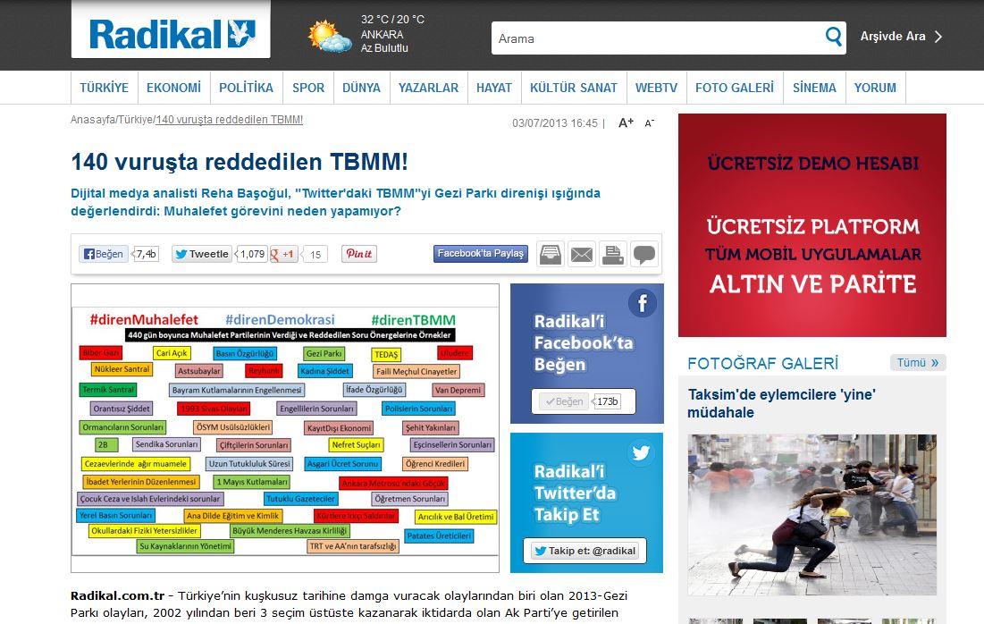 Radikal - Reha Başoğul Analiz - 140 vuruşla reddedilen TBMM