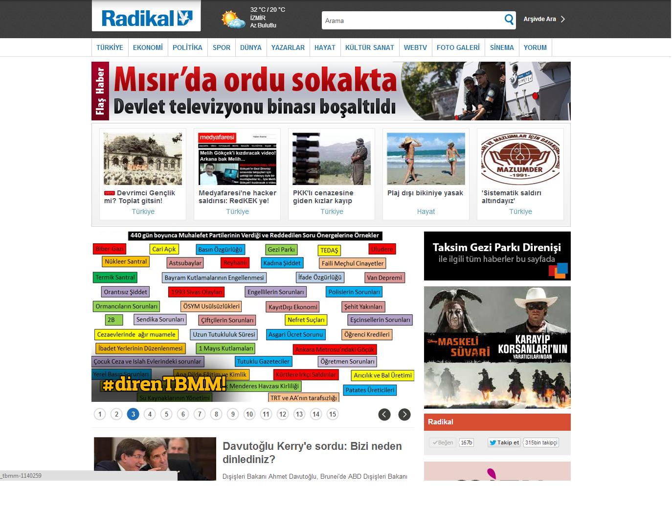 Radikal.com.tr'de 3. Manşet'ten yayımlanan yazı