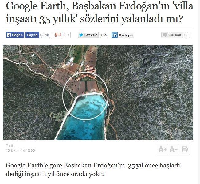 Google Earth'ün Başbakan Erdoğan'ın 35 yıl önce başladığı inşaat'ın 1 sene önce orada olmadığını gösteren ve hemen sosyal medyada paylaşılan görüntüleri