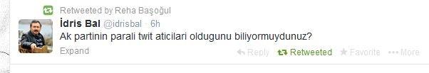 30 Kasım 2013'de AKP'den istifa eden milletvekili İdris Bal'ın 15 Şubat 2014 tarihinde attığı tweet.