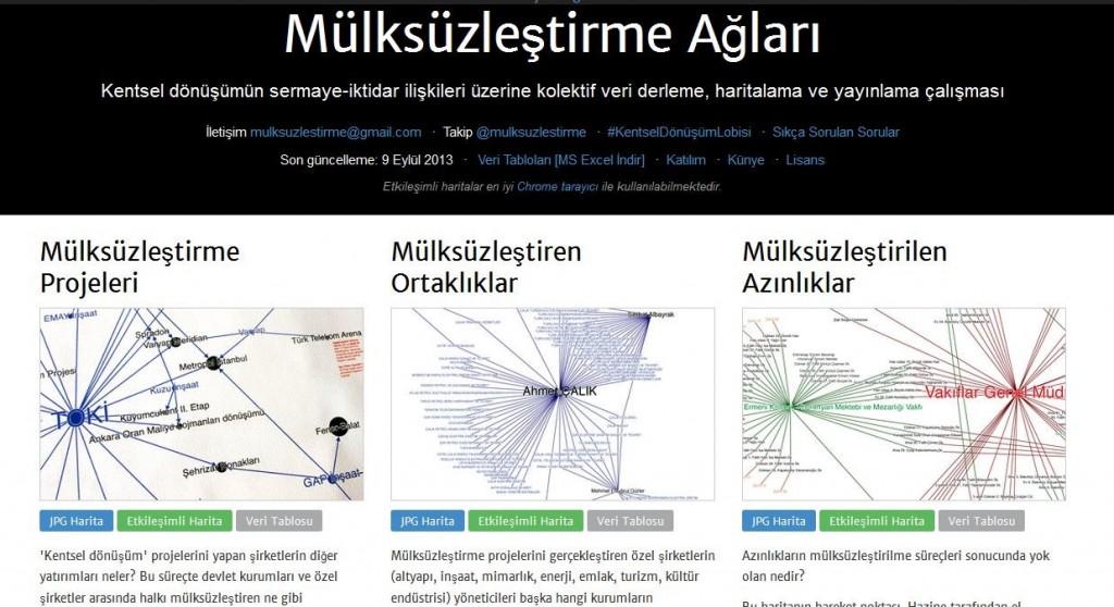 AKP iktidarı süresince kentsel dönüşüm adı altında iktidarın ihale verdiği firmaların medya-ihale ilişkilerini de ortaya koyan ve Gezi direnişinden sonra ortaya çıkan Mulksuzlestirme.Org internet sitesi