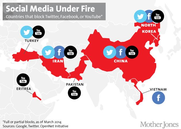 Türkiye'De Twitter ve Youtube Yasak - Harita