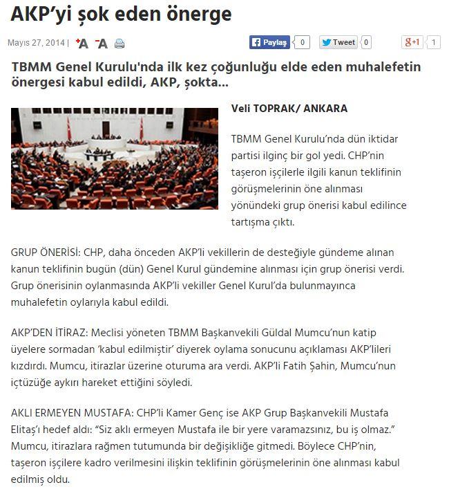 CHP'nin taşeron işçilerle ilgili kanun teklifinin görüşmelerinin öne alınması yönündeki grup önerisi mecliste ilk kez çoğunluğu elde edilen muhalefet partilerince kabul edilince tartışma çıktı.